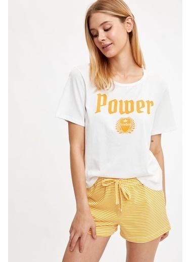 Defacto –Fit Pijama Takım Sarı